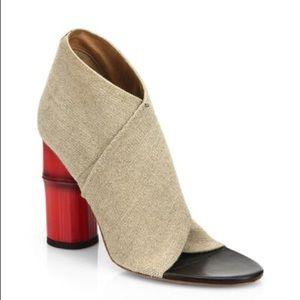 ACNE STUDIO bamboo-heel linen open-toe booties